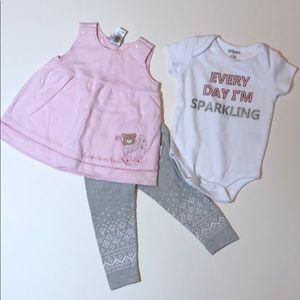 🎈 3/$18 Bundled 3-piece set girls sz 0-6 months